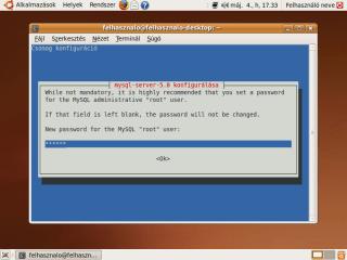 mysql-server root jelszavának megadása