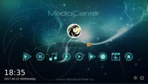 blackPanther OS média center bejelentkező képernyő
